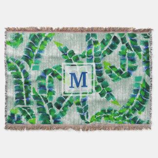 バナナの葉のモノグラムの手塗りの緑の植物 スローブランケット