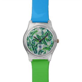 バナナの葉のモノグラムの手塗りの緑の植物 腕時計