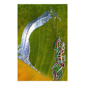 バナナの葉の銀製のヘビ及び宝石 便箋