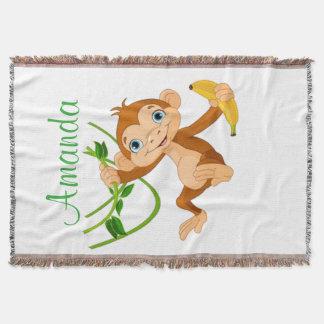 バナナを持つかわいい猿 スローブランケット