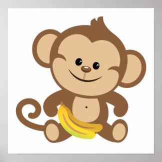 バナナを持つ男の子猿 ポスター