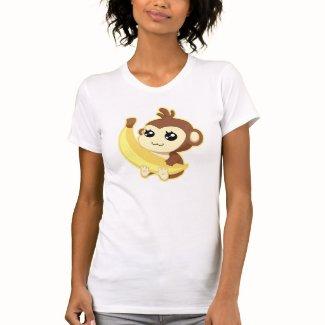 バナナを握っているかわいいかわいい猿 シャツ