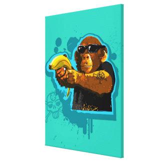 バナナを握っているチンパンジー キャンバスプリント