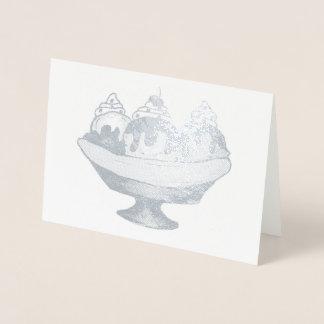 バナナスプリットのアイスクリームのサンデーの社会的な食糧デザート 箔カード