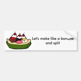 バナナスプリットの甘いアイスクリームの御馳走 バンパーステッカー