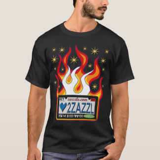 バニティー・プレート: 炎および星とのZazzleへの愛 Tシャツ