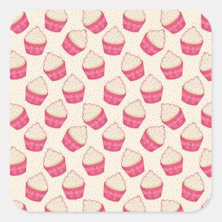 バニラはカップケーキパターンを振りかけます スクエアシール