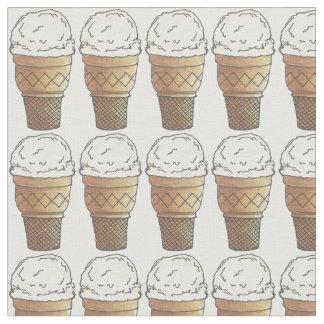 バニラアイスクリームのアイスクリームケーキの円錐形の生地 ファブリック