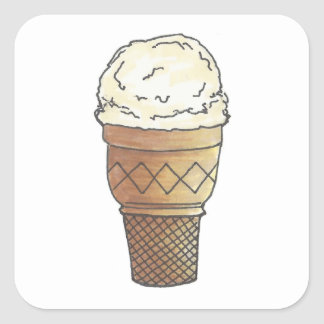 バニラアイスクリームのスコップのケーキの円錐形のデザートの夏 スクエアシール