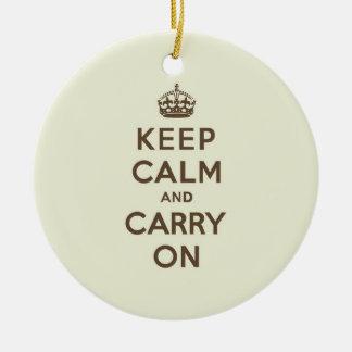 バニラチョコレートKeep Calm and Carry On セラミックオーナメント