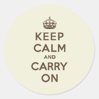 バニラチョコレートKeep Calm and Carry On ラウンドシール