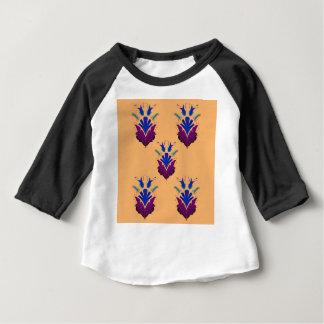 バニラ手描きのEthnoの花/元のデザイン ベビーTシャツ
