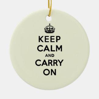 バニラKeep Calm and Carry On セラミックオーナメント