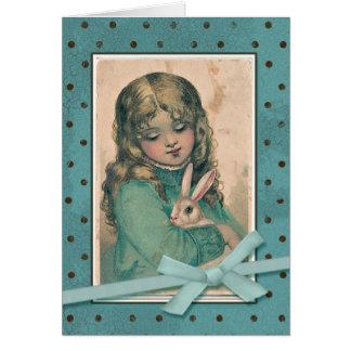 バニーのヴィンテージの再生を持つ女の子 カード