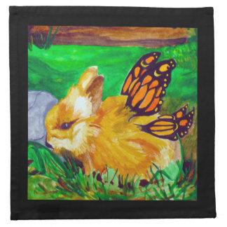 バニーの妖精の水彩画の絵画のナプキン ナプキンクロス