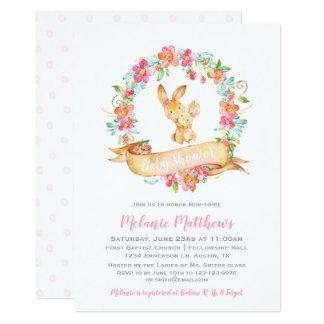 バニーの春の花の水彩画のリースのベビーシャワー カード