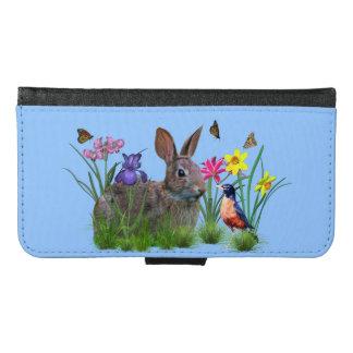 バニーウサギ、カスタマイズ可能なロビンおよび花 GALAXY S6 ウォレットケース