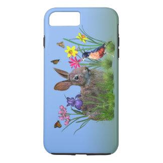 バニーウサギ、カスタマイズ可能なロビンおよび花 iPhone 8 PLUS/7 PLUSケース