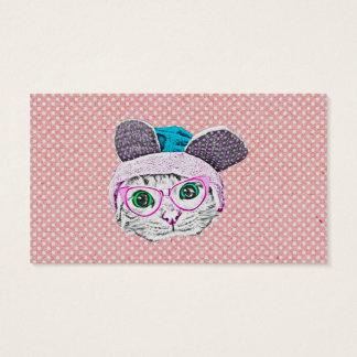バニー帽子及びガラスを持つオタク系のな子猫猫 名刺