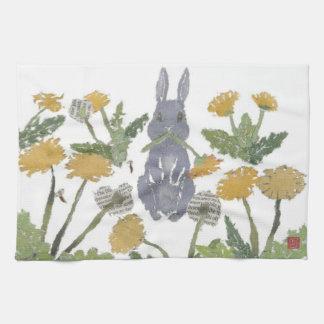 バニー、ウサギ、タンポポ、森林 キッチンタオル