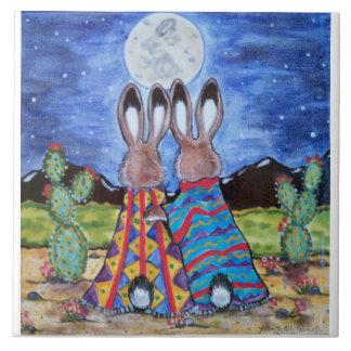 """""""バニー"""" 6""""にタイルかtrivet寄添って下さい; ロマンチックなウサギ タイル"""