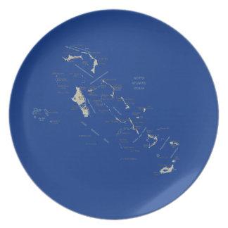 バハマの地図のプレート プレート