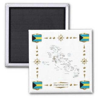 バハマの地図 + 旗の磁石 マグネット