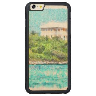 バハマの緑の草木で置かれる別荘 CarvedメープルiPhone 6 PLUSバンパーケース