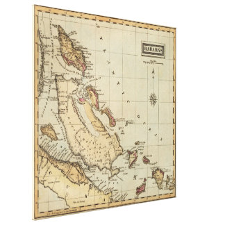 バハマ(1823年)のヴィンテージの地図 キャンバスプリント