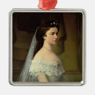 ババリアのエリザベス、オーストリアの皇后 シルバーカラー正方形オーナメント