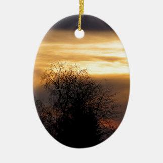 ババリアの日没 陶器製卵型オーナメント