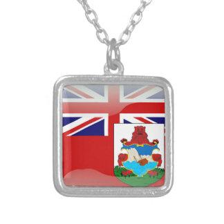 バミューダの光沢のある旗 シルバープレートネックレス