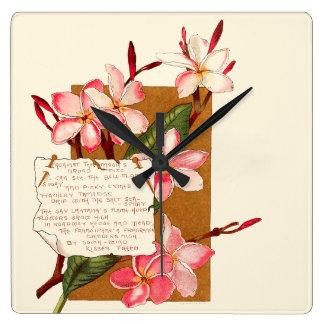 バミューダ島のプルメリアの花の花の島カリブ スクエア壁時計
