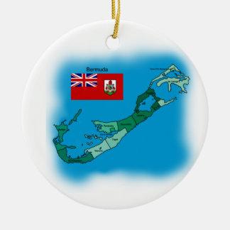 バミューダ島の旗そして地図 セラミックオーナメント
