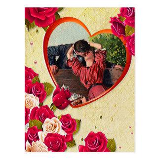 バラおよびハートフレームはあなたの写真を加えます ポストカード