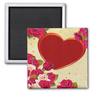 バラおよびハートフレームはあなたの写真を加えます マグネット