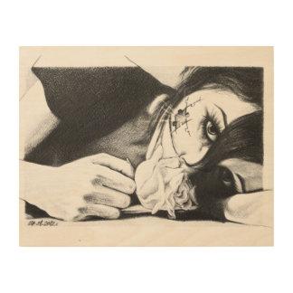 バラおよびパズル木キャンバスを持つ泣き叫びの女の子 ウッドウォールアート