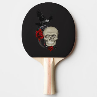 バラおよびワタリガラスが付いているゴシック様式スカル 卓球ラケット