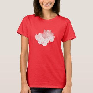 バラおよび水晶-ピンク Tシャツ