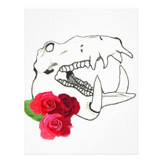 バラが付いているカバのスカル レターヘッド