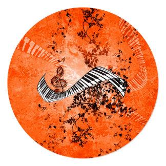 バラが付いているキーボードそしてクレフ、音符記号 カード