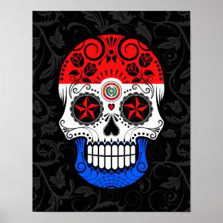 バラが付いているパラグアイの旗の砂糖のスカル ポスター
