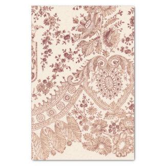 バラが付いているピンクの花のレース 薄葉紙