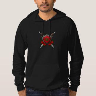 バラが付いている擦り切れたなモロッコの旗の盾そして剣 パーカ