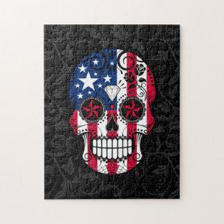 バラが付いている米国旗の砂糖のスカル ジグソーパズル
