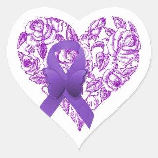 バラが付いている紫色の認識度のリボン ハートシール