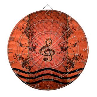バラが付いている装飾的なクレフ、音符記号 ダーツボード