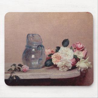 バラが付いている静物画、1889年(キャンバスの油) マウスパッド