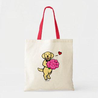 バラが付いている黄色いラブラドールの漫画 トートバッグ