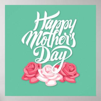 バラとの幸せな母の日の書道 ポスター
